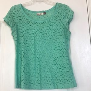 Mint green short sleeve lacey top